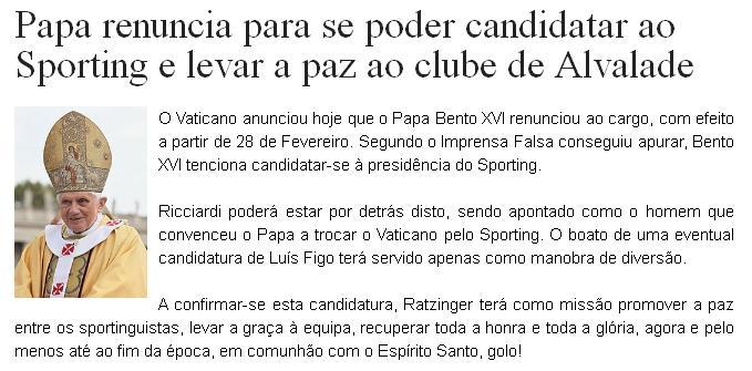 Papa renuncia para se poder candidatar à presidência do Sporting