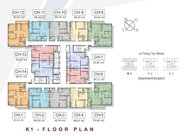 Mặt bằng điển hình tòa K1 dự án chung cư căn hộ The K Park Hà Đông