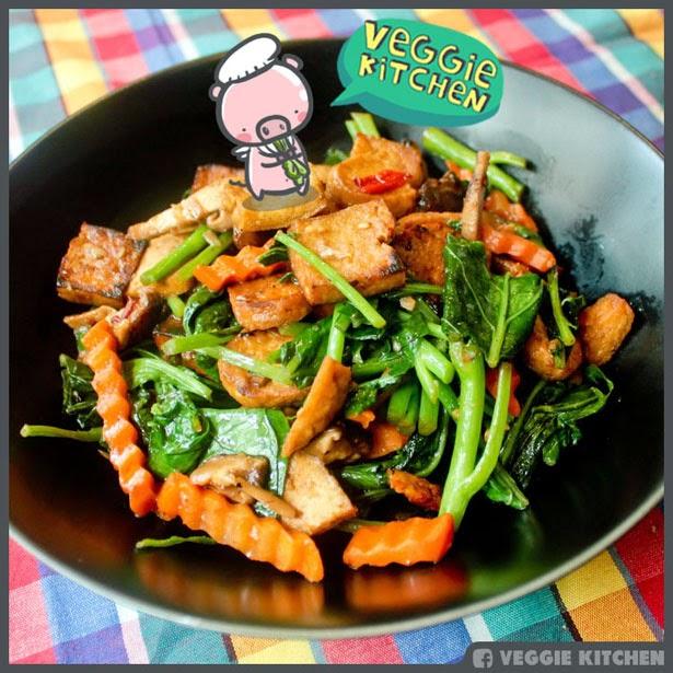 ผัดผักคะน้าเต้าหู้แครอทเห็ดหอม