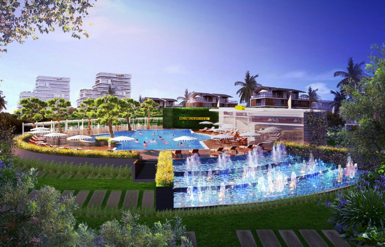 Click xem Hồ bơi chính Trung tâm Dự án The Stars Village (Long Thới - Nhà Bè) với quy mô lớn, hiện đại; Phục vụ cư dân