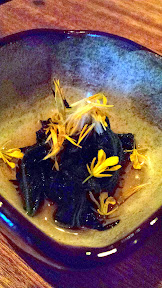 Nodoguro Pop-up Course 6: Nettle and dandelion salad with pickled sativum