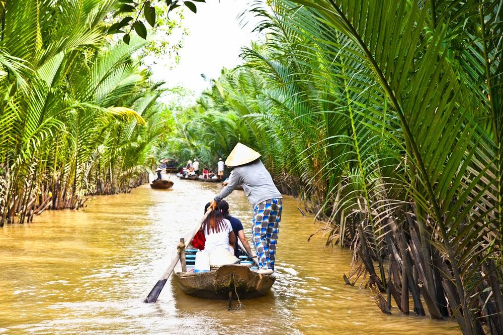 The sampan boat rides in Mekong Delta