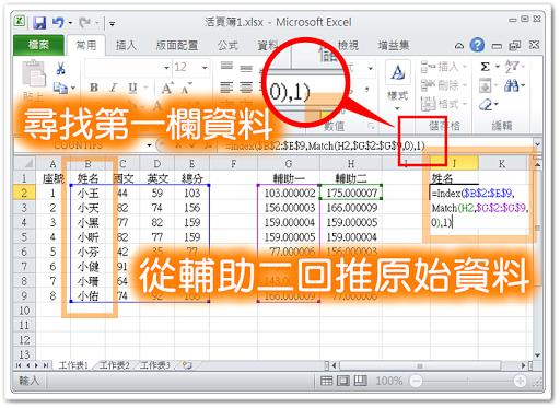 利用 Index() 及 Match() 查詢原始資料