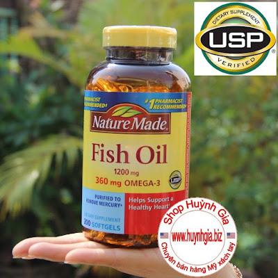Viên Dầu Cá Nature Made Fish Oil  200 viên Hàm Lượng Omega 3  được chứng nhận USP Hoa Kỳ