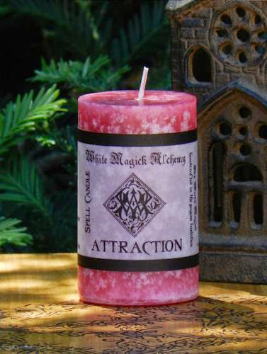 Attraction Ritual Spell Candle Lucky Spirit Brand By White Magick Alchemy 2X3 Pillar