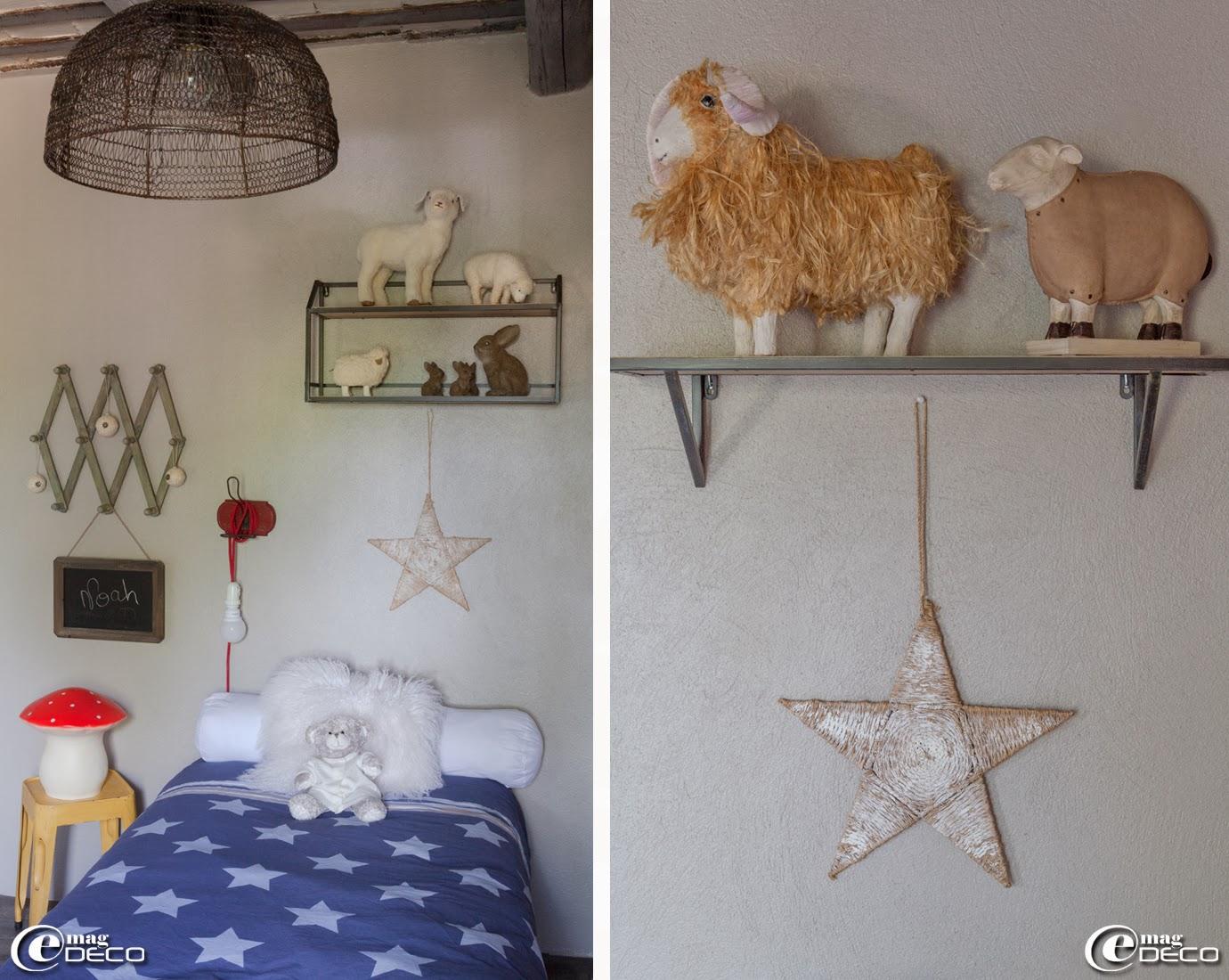 Lampes veilleuses champignon et lapin 'Egmont Toys', coussins blanc en fourrure 'La Redoute', portemanteaux 'Pomax'