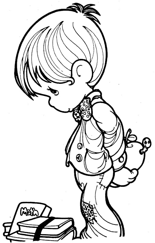 Cute student precious moments coloring pages coloring for Precious moments angel coloring pages