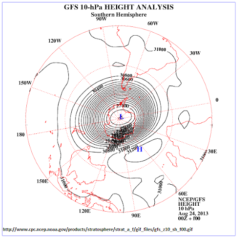 sinkhole over Antartica at 10hPa