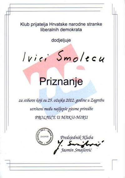 Priznanje za nastup na priredbi 'Proljeće u Maksi-miru' 2012.