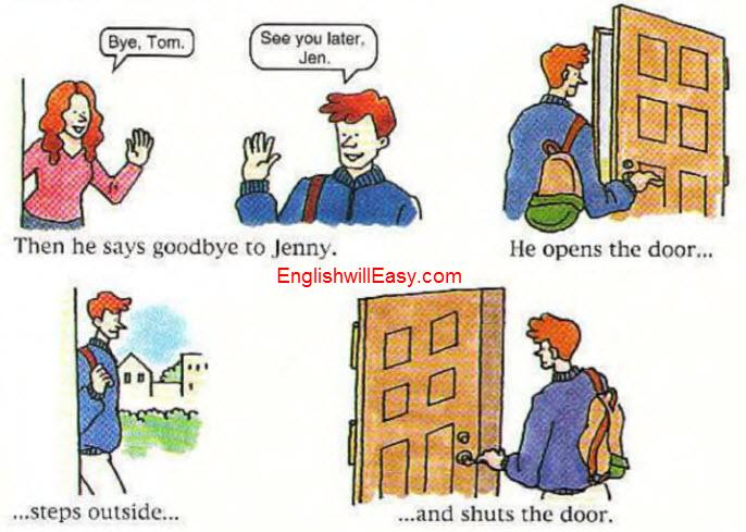 He opens the door steps outside and shuts the door.