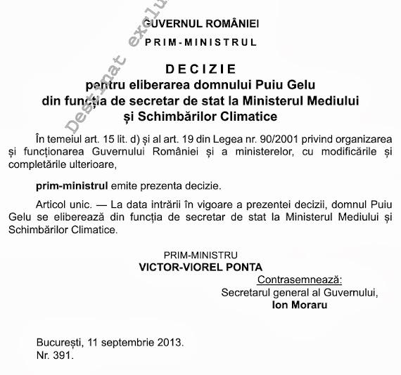 Secretarul de stat PNL Gelu Puiu a fost demis din funcţie printr-o decizie a premierului Victor Ponta