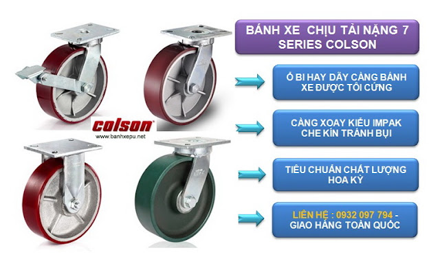 Catalog bánh xe công nghiệp Colson chịu tải trọng (900kg~2025kg) www.banhxepu.net