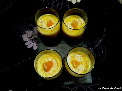 Natillas de vainilla con polvo de mandarina