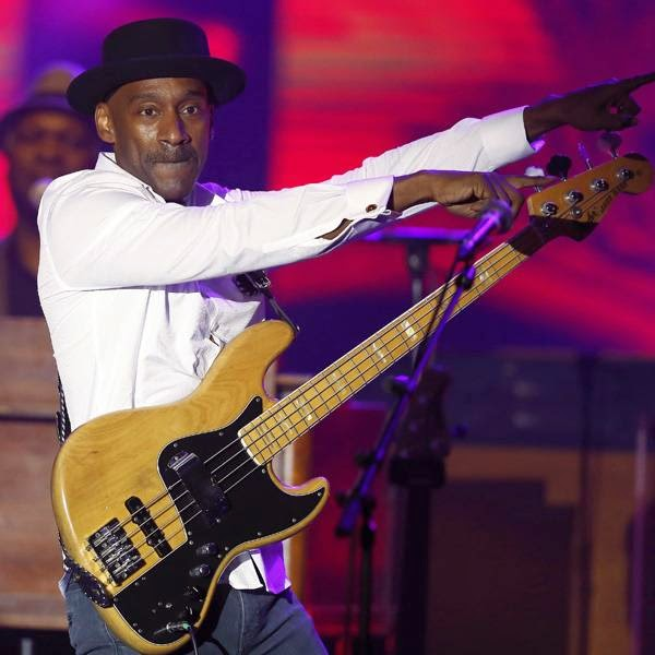 US jazz composer and bass guitarist Marcus Miller performs on stage during the Monte Carlo Summer Festival on July 23, 2014 in Monaco.
