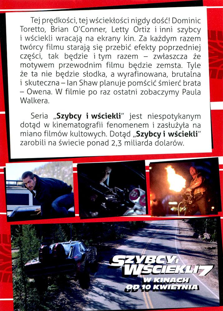 Ulotka filmu 'Szybcy i Wściekli 7 (tył)'