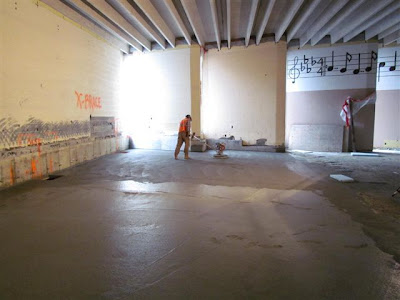 Floor prep in music room