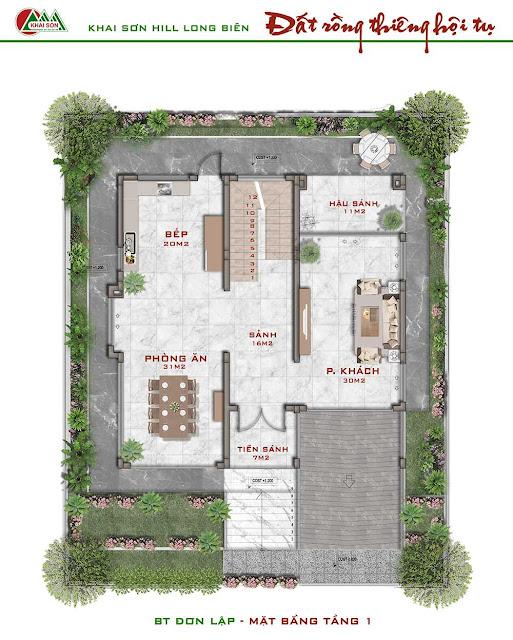 Thiết kế tầng 1 biệt thự đơn lập