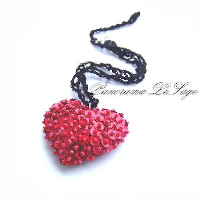 walentynki broszki serduszka cekiny błyszczące migoczące broszki szydełkowe serca dla ukochanej idealny prezent na walentynki Biżuteria Szydełkowa Panorama LeSage wisior serce