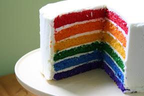 The spectacular rainbow cake! Boy, I really AM a good mother!