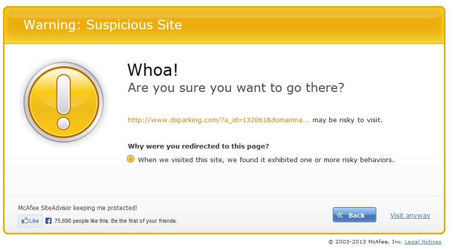 че този сайт има риск