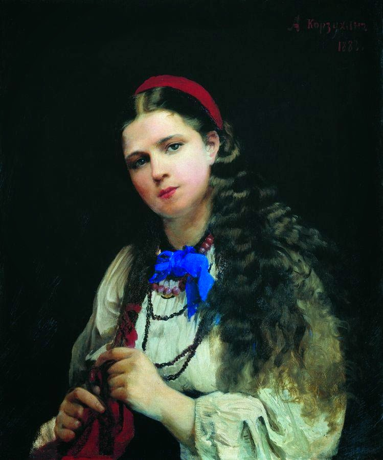 Alexey Korzukhin - A girl braiding her hair