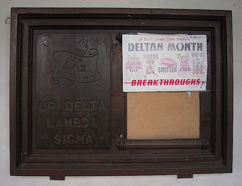 cork board of the Delta Lambda Sigma sorority in the University of the Philippines - Diliman