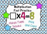 http://www.teacherspayteachers.com/Product/Multiplication-Fact-Practice-Pages-1047737