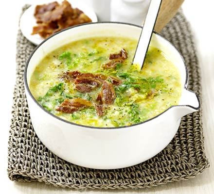 Potato & Savoy cabbage soup with bacon recipe