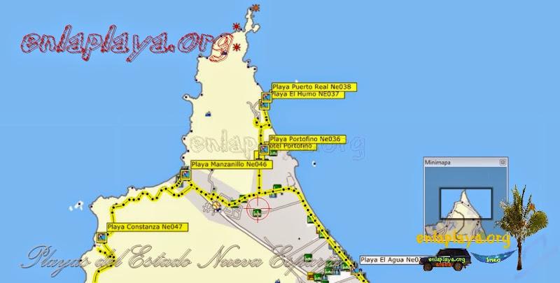Mapa de Playas del sector Manzanillo