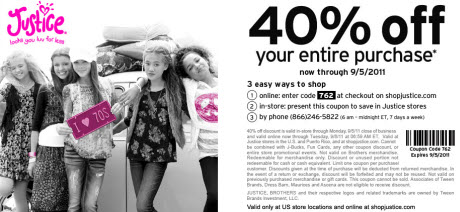 Justice for Girls coupon 40% off 9/5/11