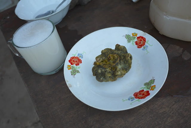 palm wine and cooked sea creature