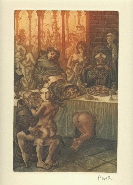 La corte de Roma - Grabado original de Celedonio Perellón