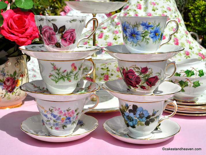 pretty floral eclectic vintage teacups set
