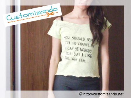customização de blusinha ou camiseta com letra de música