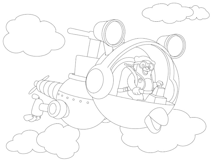 Special Agent Oso: Riding Whirly Bird Coloring Page