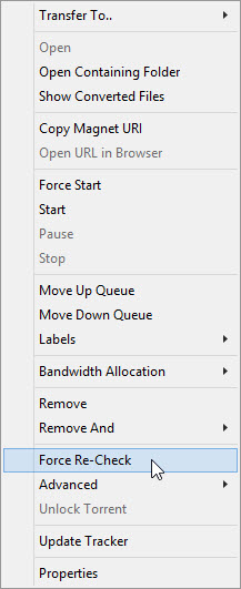 UTorrent context menu, force re-check
