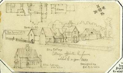 """Cottages opposite the (hall) farm added to in the year 1888 designed by Col R.G. Wale."" From A Record of Shelford Parva by Fanny Wale P20"