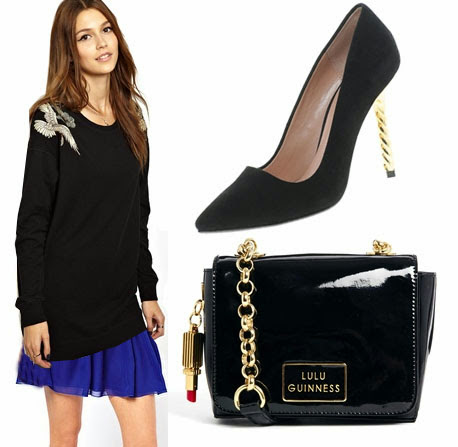 party look, xmas look, oversized jumper chiffon skirt