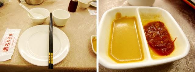 碗筷與沾醬(其實都沒用到沾醬就很好吃了~)-大大茶樓台中港式飲茶