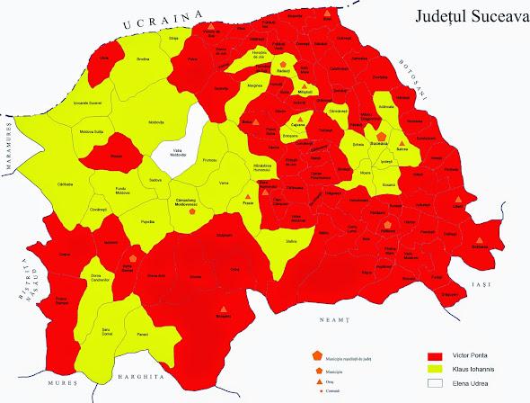 Rezultatul primului tur al alegerilor prezidenţiale 2014 în judeţul Suceava, pe localităţi