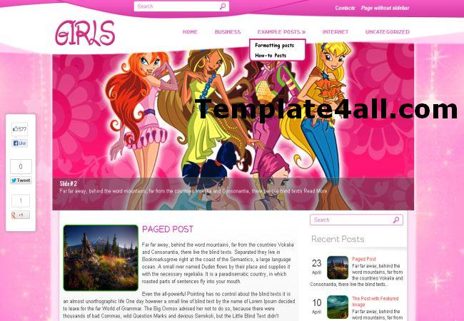 Anime Girls Pink Wordpress Theme Template