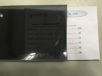 Mẫu phim cách nhiệt IR 1599 Nano Film