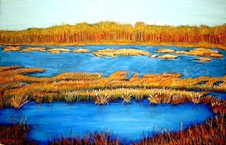 """""""Waves Of Blue and Gold"""" by Artist Juliette Travous."""