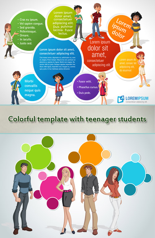 Colorful template with teenager students