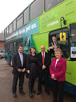 Alison at Arriva's Birkenhead bus depot launching their new fleet of hybrid vehicles