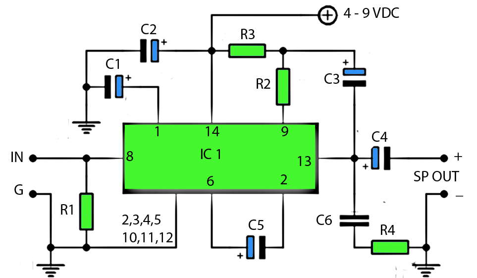 Is Circuit Mini Power Amplifier Low Watt 1 2w Only In Circuit Have Ic