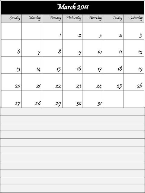 blank march 2011 printable calendar. Blank Calendar March 2011