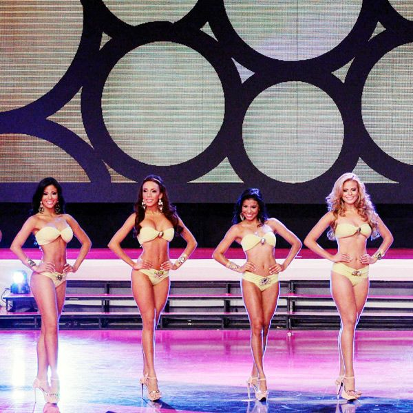 Contestants pose in swimsuits as they compete in the Miss Panama 2013 beauty contest, held in Panama City, on April 30, 2013.