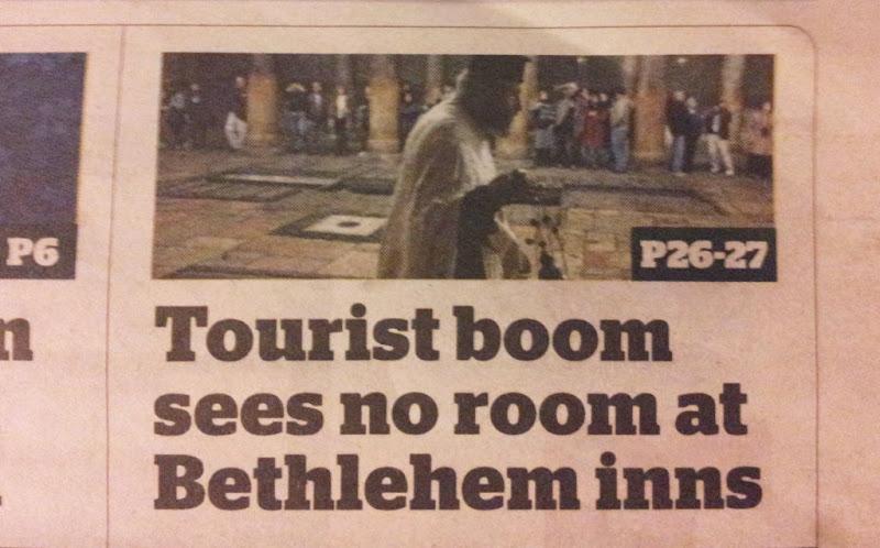 No room at Bethlehem inns - 'i' newspaper 24 Dec 2012