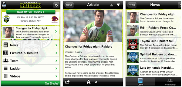 raiders' iphone app screenshot